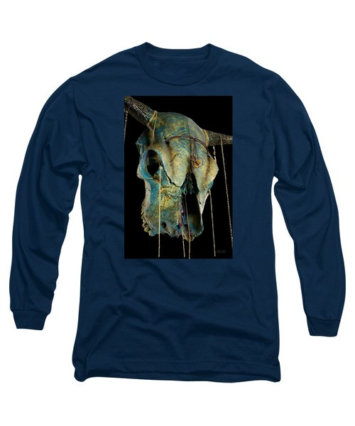 Turquoise And Gold Illuminating Steer Skull Long Sleeve T-Shirt by Mayhem Mediums