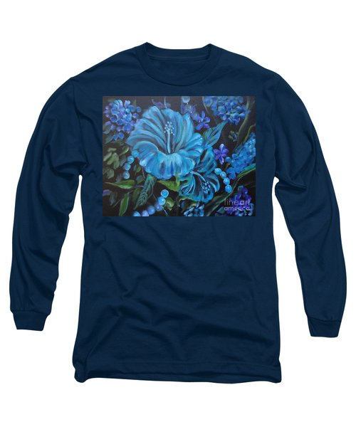 Turquoise Hibiscus Long Sleeve T-Shirt by Jenny Lee