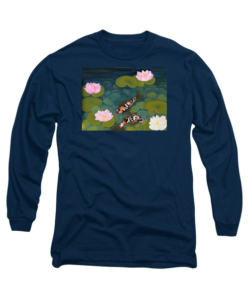 Two Koi Fish And Lotus Flowers Long Sleeve T-Shirt