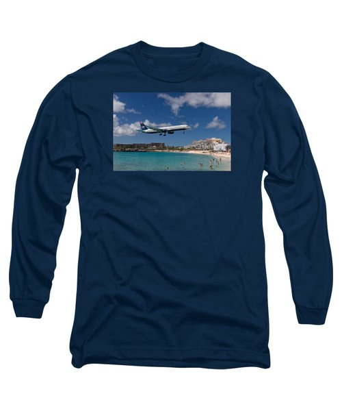 U S Airways Low Approach To St. Maarten Long Sleeve T-Shirt