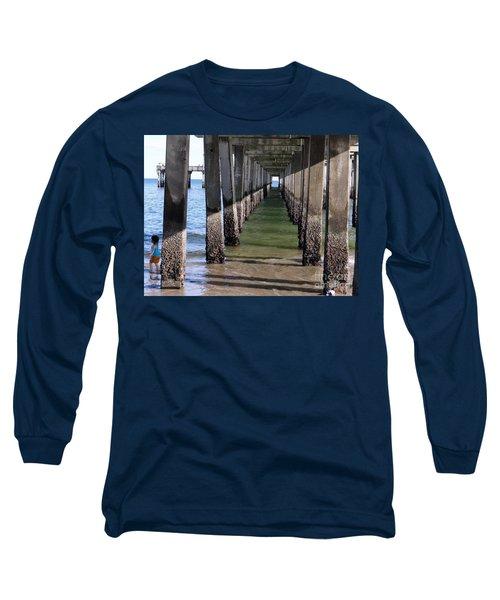 Long Sleeve T-Shirt featuring the photograph Under The Boardwalk by Ed Weidman