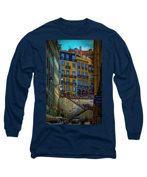 Up The Stairs - Lisbon Long Sleeve T-Shirt by Mary Machare