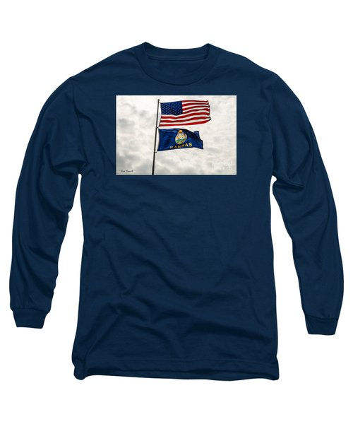 Us And Kansas Flags Long Sleeve T-Shirt