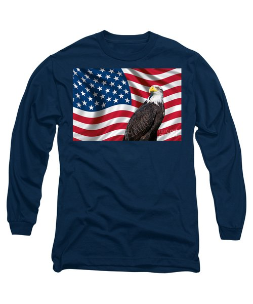 Long Sleeve T-Shirt featuring the photograph Usa Flag And Bald Eagle by Carsten Reisinger