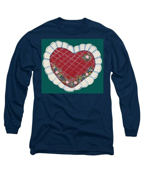 Long Sleeve T-Shirt featuring the painting Valentine Heart by Barbara McDevitt