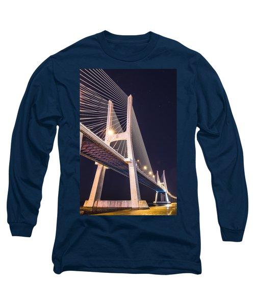 Vasco Da Gama Bridge At Night Long Sleeve T-Shirt