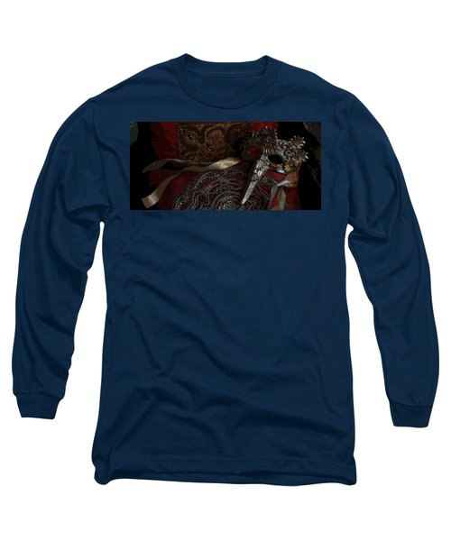 After The Carnival - Venetian Mask Long Sleeve T-Shirt by Yvonne Wright