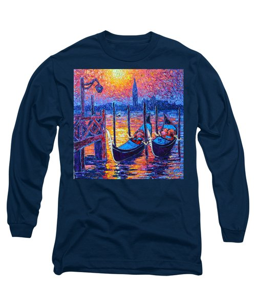 Venice Mysterious Light - Gondolas And San Giorgio Maggiore Seen From Plaza San Marco Long Sleeve T-Shirt