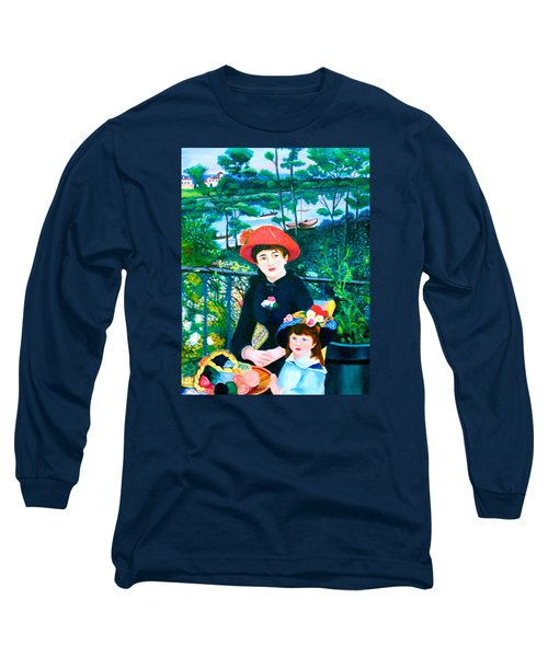Version Of Renoir's Two Sisters On The Terrace Long Sleeve T-Shirt by Lorna Maza