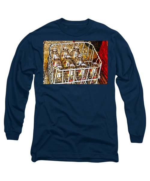 Long Sleeve T-Shirt featuring the photograph Vintage Milk Bottles In A Crate   by Lesa Fine