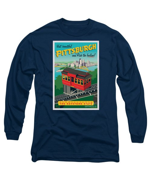 Vintage Style Pittsburgh Incline Travel Poster Long Sleeve T-Shirt by Jim Zahniser