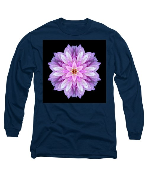 Violet Dahlia I Flower Mandala Long Sleeve T-Shirt