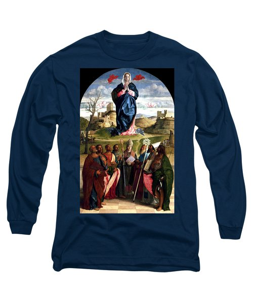 Long Sleeve T-Shirt featuring the painting Virgin In Glory With Saints 1515 Giovanni Bellini by Karon Melillo DeVega