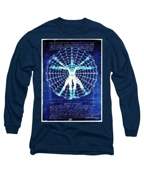 Vitruvian Spiderman White In The Sky Long Sleeve T-Shirt