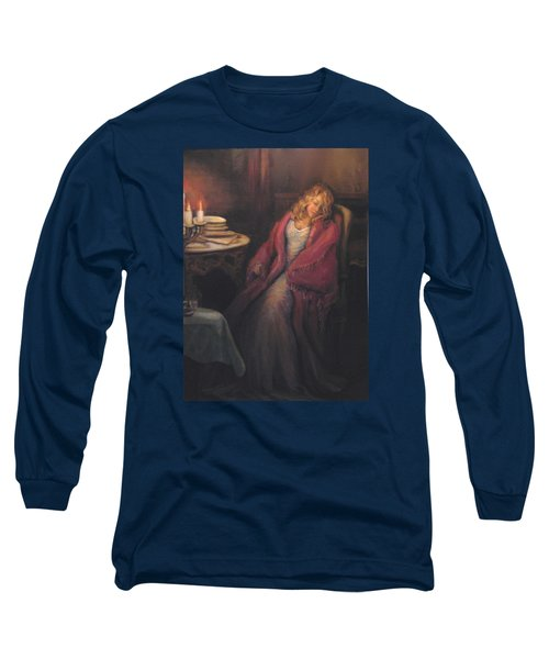 Long Sleeve T-Shirt featuring the painting Waiting by Donna Tucker