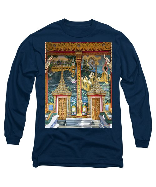 Long Sleeve T-Shirt featuring the photograph Wat Choeng Thale Ordination Hall Facade Dthp143 by Gerry Gantt