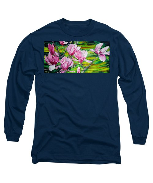 Watercolor Exercise Magnolias Long Sleeve T-Shirt