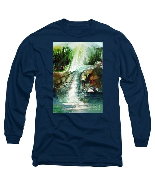 Long Sleeve T-Shirt featuring the painting Waterfall Expression by Allison Ashton