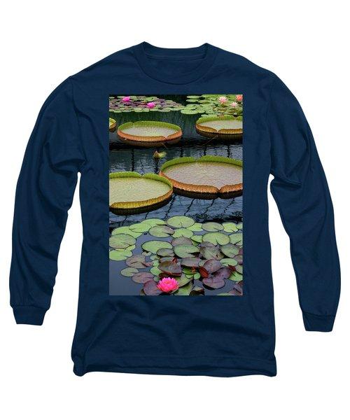 Waterlilies And Platters 2 Long Sleeve T-Shirt by Byron Varvarigos