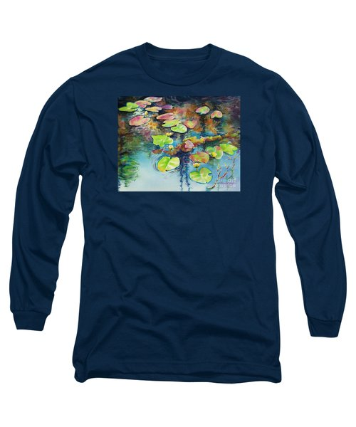 Long Sleeve T-Shirt featuring the painting Waterlilies In Shadow by Kathy Braud