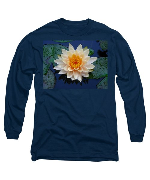 Waterlily After A Shower Long Sleeve T-Shirt by Raymond Salani III