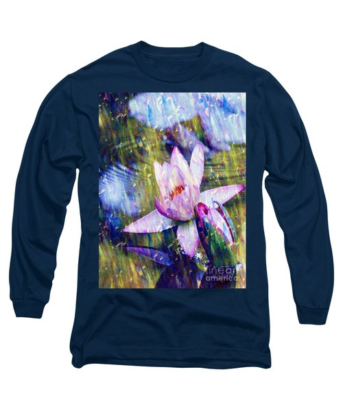 Purple Waterlily Paradise Long Sleeve T-Shirt by Carol F Austin