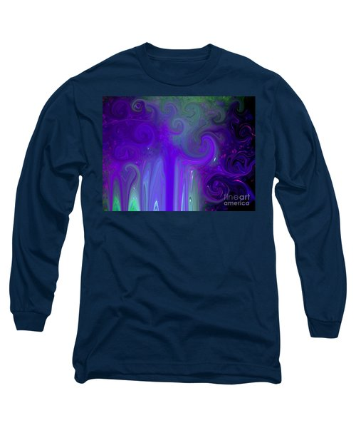 Waves Of Violet - Abstract Long Sleeve T-Shirt by Susan Carella