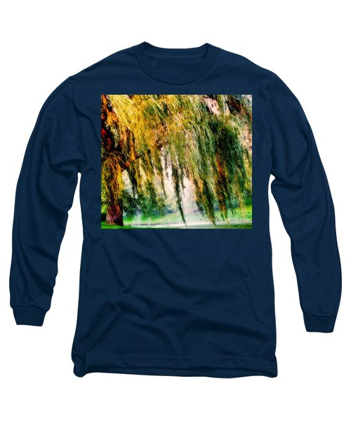 Weeping Willow Tree Painterly Monet Impressionist Dreams Long Sleeve T-Shirt