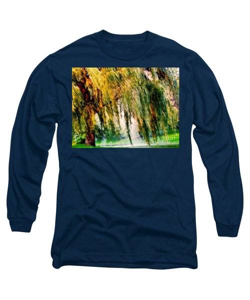 Weeping Willow Tree Meditation Wall Art Print  Long Sleeve T-Shirt