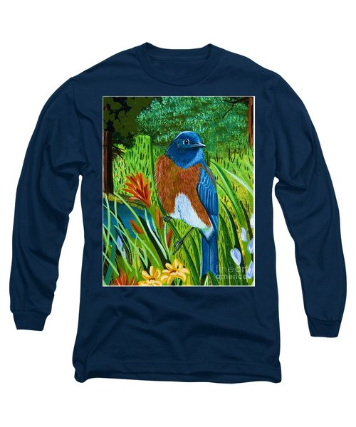 Long Sleeve T-Shirt featuring the painting Western Bluebird by Jennifer Lake