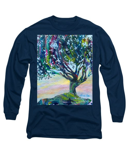 Whimsical Tree Pastel Sky Long Sleeve T-Shirt by Denise Hoag