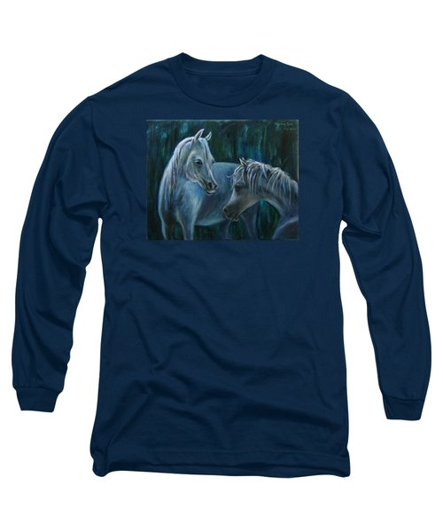 Long Sleeve T-Shirt featuring the painting Whispering... by Xueling Zou