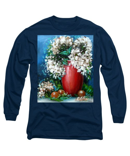 Long Sleeve T-Shirt featuring the painting White Hydrangeas by Patrice Torrillo