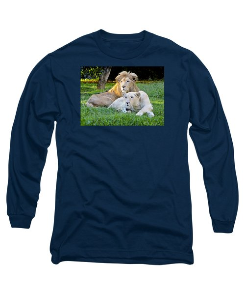 White Lion And Lioness Long Sleeve T-Shirt by Venetia Featherstone-Witty