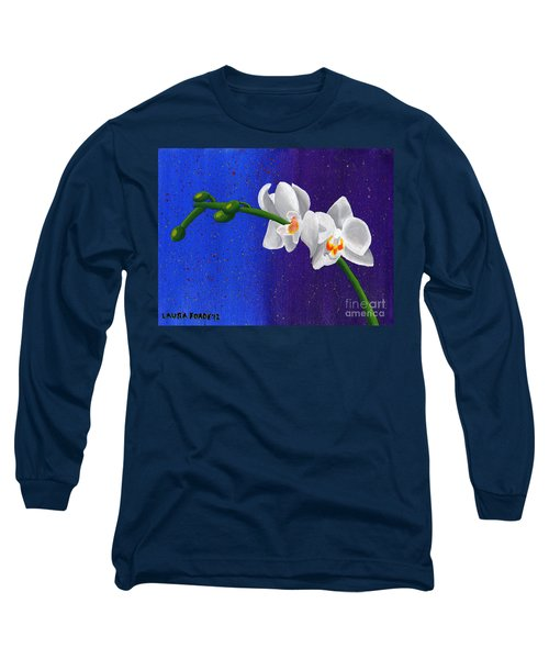 White Orchids Long Sleeve T-Shirt by Laura Forde