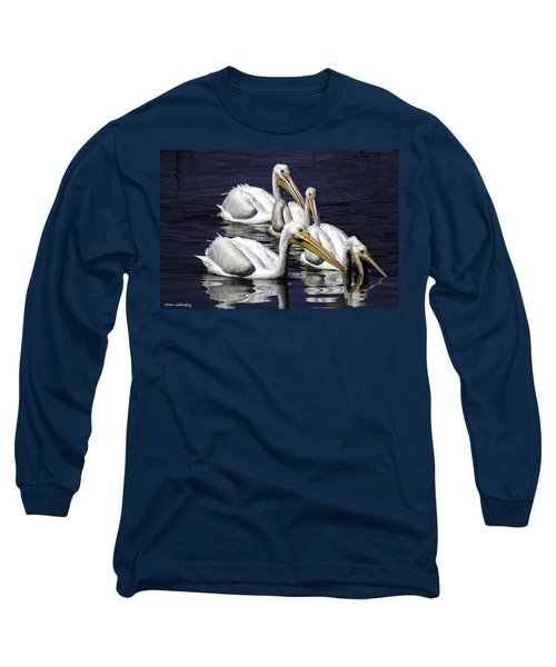 White Pelicans Fishing Long Sleeve T-Shirt