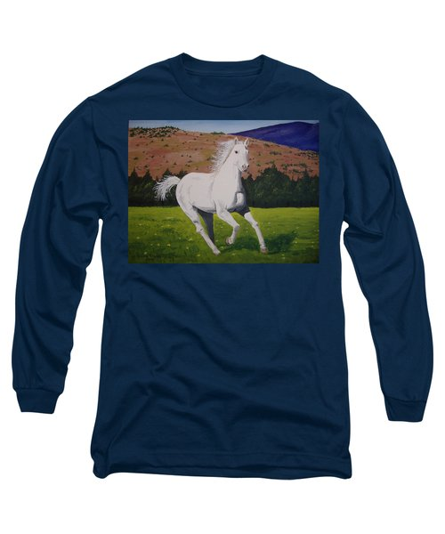 Long Sleeve T-Shirt featuring the painting White Stallion by Norm Starks