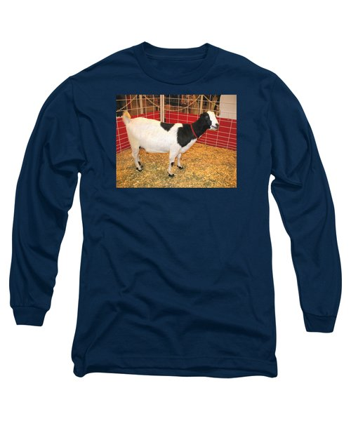Long Sleeve T-Shirt featuring the photograph Who Ate The Walls? Maybe The Blue-eyed Goat by Connie Fox