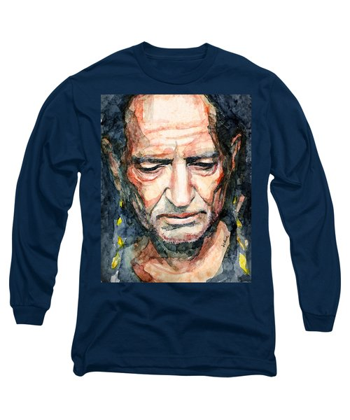 Long Sleeve T-Shirt featuring the painting Willie Nelson  by Laur Iduc
