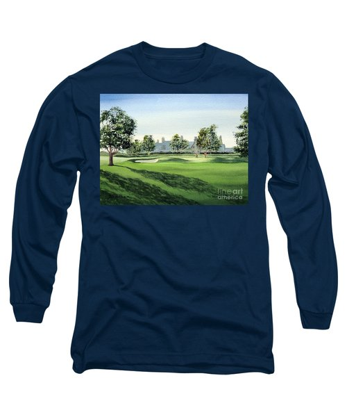 Long Sleeve T-Shirt featuring the painting Winged Foot West Golf Course 18th Hole by Bill Holkham