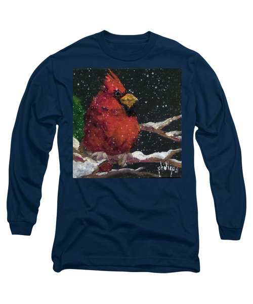 Long Sleeve T-Shirt featuring the painting Winter's Red by Jim Phillips