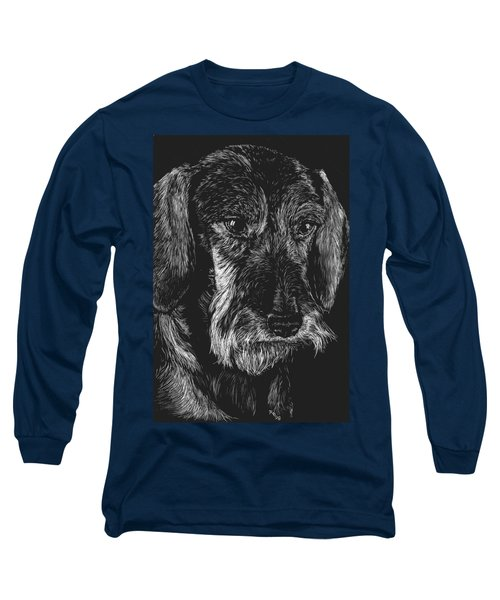 Long Sleeve T-Shirt featuring the drawing Wire Haired Dachshund by Rachel Hames