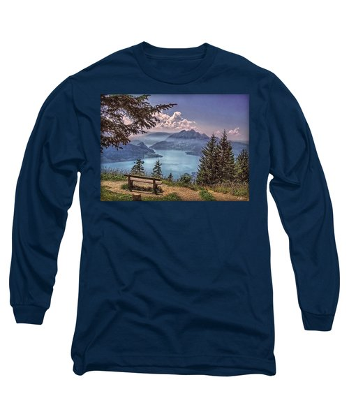 Wooden Bench Long Sleeve T-Shirt by Hanny Heim