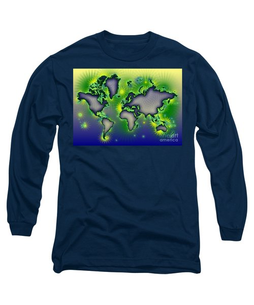 World Map Amuza In Blue Yellow And Green Long Sleeve T-Shirt by Eleven Corners