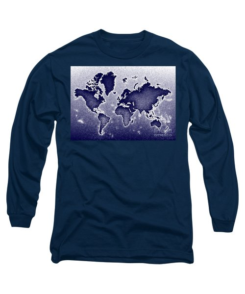 World Map Novo In Blue Long Sleeve T-Shirt by Eleven Corners