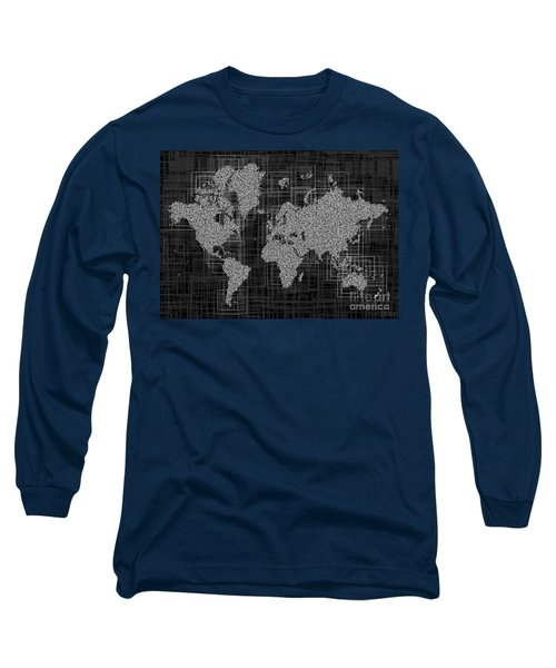 World Map Rettangoli In Black And White Long Sleeve T-Shirt by Eleven Corners