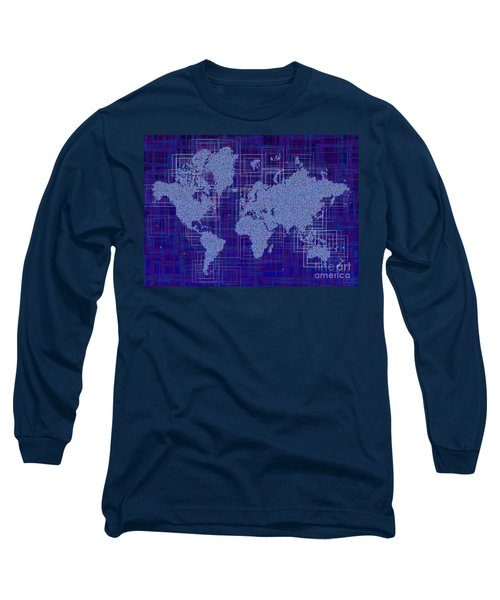 World Map Rettangoli In Blue And White Long Sleeve T-Shirt by Eleven Corners
