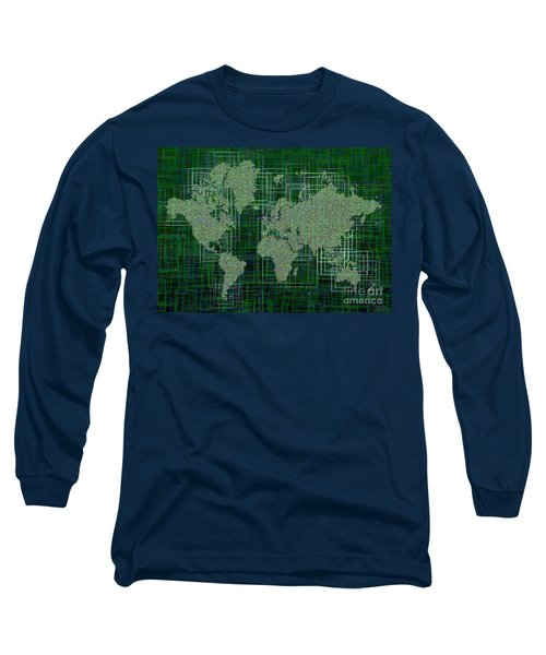 World Map Rettangoli In Green And White Long Sleeve T-Shirt by Eleven Corners