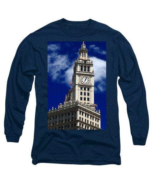 Wrigley Building Clock Tower Long Sleeve T-Shirt