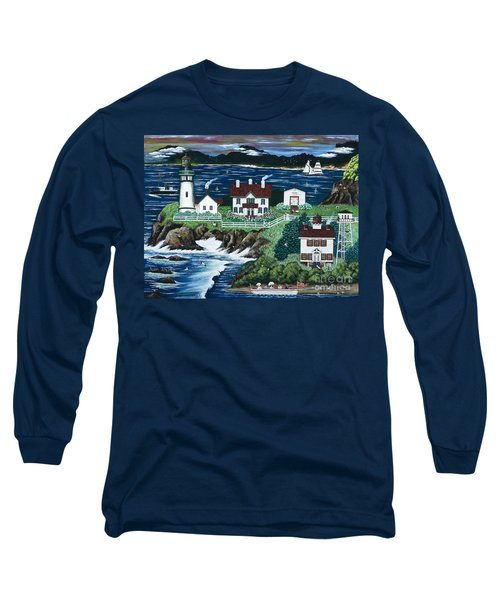 Long Sleeve T-Shirt featuring the painting Yaquina Lighthouse by Jennifer Lake